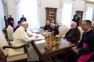 Francis-Bergoglio Laughs with U.S. Newbishop